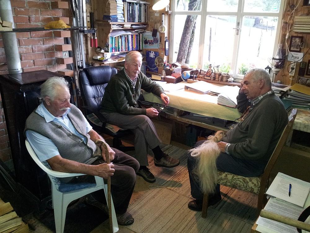 Da Edi (Mitte) min Bauan Fronz (links) und mia ban Fochsimpin im Oktober 2011.