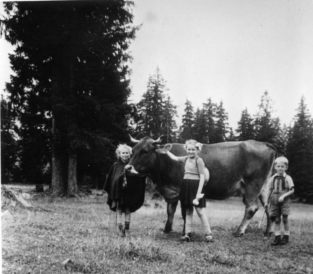 _Die Haberlkinda Anni und Hans (gest. 11.11. 2012) mit da Johanna Tomek im Ihfang mit Kuh 1952